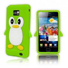 Husa silicon verde pinguin Samsung Galaxy S2 + folie protectie cadou - Husa Telefon Samsung, Carcasa