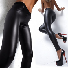 Colanti dama - Colanti piele latex PU pantaloni luciosi wet look piele skinny