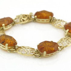 Bratara din aur, 14 carate - Bratara Frumoasa Vintage Aur 14k Cu Pietre Chichlimbar....reducere