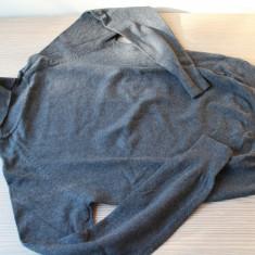 Bluza cu guler roll de la Zara, gri-antracit, din bumbac - Pulover dama Zara, Marime: 38, Helanca pe gat