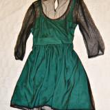 rochie scurta ATMOSPHERE verde smarald dantela neagra mar 38