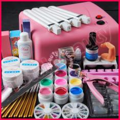 Unghii false - Kit unghii gel lampa UV 36W 12 geluri colorate 7 pensule manichiura accesorii