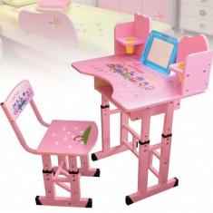 Birou Copii cu Masuta, Etajera si Scaun KT0023 Roz - Masuta/scaun copii