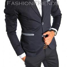 Sacou tip Zara Man bleumarin casual - sacou barbati - sacou bumbac cod 4725