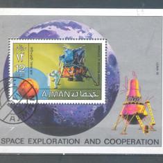 Ajman Cosmos Apollo 11 si Luna 16 colita stampilata 1971 - Timbre straine, Spatiu