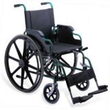 Scaun cu rotile - Fotoliu rulant pliabil din otel cu brate rabatabile pentru persoane cu handicap