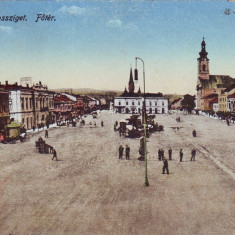 Romania, Maramarossziget, Sighetu Marm., carte postala cenz. circ. 1917: Centrul - Carte Postala Maramures 1904-1918, Circulata, Fotografie, Sighetu Marmatiei