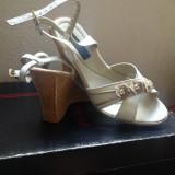 Vand sandale albe de piele cu platforma de pluta 10cm - Sandale dama, Marime: 39, Piele naturala