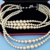 Superb colier perle albe vintage