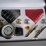 Ceas barbatesc, Casual, Quartz, Inox - Set ceas cadou cu cravata eleganta- NY London -7 piese (cod:825)