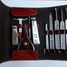 Trusa manichiura pedichiura 10 piese otel inoxidabil Delijia