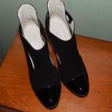 Botine negre decupate noi Salamandra marimea 36 - Pantofi dama, Piele intoarsa