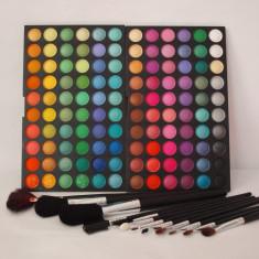 POZE REALE !! TRUSA 120 CULORI farduri ploape PROFESIONALE + 12 PENSULE, trusa fard machiaj makeup make-up TR43-3 - Fard pleoape
