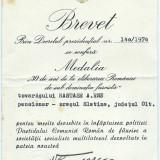BREVET - Medalia 30 de ani de la eliberarea Romaniei de sub dominatia fascista - Medalii Romania, An: 1974