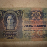 BANCNOTA DE 20 COROANE IMPERIUL AUSTRO-UNGAR, 02.01.1913, CU CIRCULATIE IN BUCOVINA