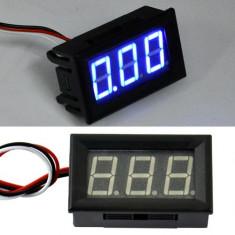 Indicator - Voltmetru digital voltaj 3 digiti albastru DC 4V- 30V auto masina baterie