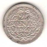 Moneda Medievala, Europa, An: 1940 - SV * Olanda 25 CENTS 1940 ARGINT -XF