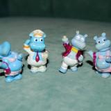 Lot 4 figurine jucarie surpriza ou Kinder, colectia hipopotamii 1992, vechi, vintage, (mici defecte), plastic, 4 cm, colectie, decor - Surpriza Kinder