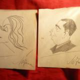 Set 5 Caricaturi in Creion, semnate Mircea Iancu - subiect- Personalitati - Pictor roman