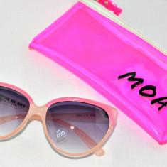 Ochelari de soare, Femei, Gri, Ochi de pisica, Plastic, Protectie UV 100% - Ochelari soare cat roz MOA
