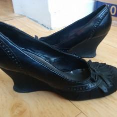 Pantofi dama, Piele naturala - Pantofi din piele cu platforma marimea 39, purtati o singura data