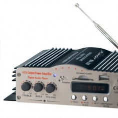 AMPLIFICATOR AUDIO CU TELECOMANDA, RADIO, CARD SI STICK USB 40 w