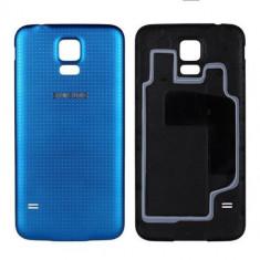 Capac baterie - Capac spate Albastru Samsung Galaxy S5 i9600 + folie ecran cadou