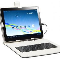 Husa tableta cu tastatura - Husa cu tastatura Tracer microUSB Walker alba 9.7 inch
