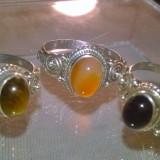 Set!lot 3 inele argint 925 marimea 6, pietre naturale oval cut : ochi de tigru; carneol si onix ! - Inel argint