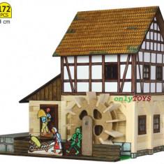 Set casute casuta din lemn MOARA DE APA jucarie eco walachia WaterMill lego wood - Jocuri Seturi constructie