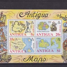 Navigatie, corabii, harti, Antigua. - Timbre straine, Nestampilat