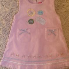 Haine Copii 1 - 3 ani, Rochii, Fete - Rochita firma Hopestar, roz din velur, cu buzunare, 1-2 ani