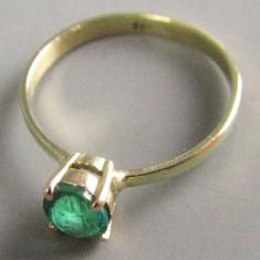 Inel aur si smarald, Carataj aur: 14k, Culoare: Galben, 46 - 56