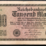 Bancnota Straine, Europa, An: 1922 - P1 GERMANIA 1000 1.000 Mark 15.9.1922 sr 085620 VF VARIANTA 1