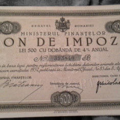 BON DE IMPOZIT 500 LEI 1933 A UNC PERFECTA - Cambie si Cec