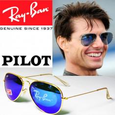 Ochelari de soare Ray Ban Aviator, Unisex, Albastru, Pilot, Metal, Fara protectie
