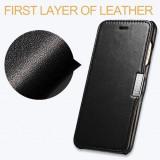 Husa piele naturala iCARER Luxury, iPHONE 6 / 6S flip deschidere laterala, NEGRU