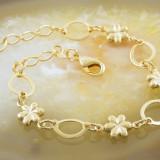 Bratara Placata Cu Aur 18k, model floral, cod 673