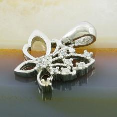 Colier placate cu aur - Pandantiv model Fluture cu Zirconiu, din Argint 925, cod 201