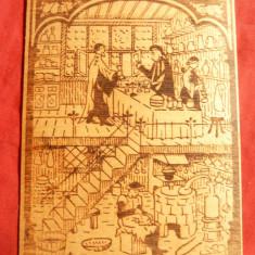 Gravura pe lemn lipit pe carton - Farmacie medievala, dim.= 4, 7x10, 3 cm