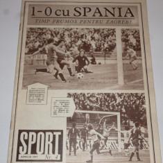 Revista SPORT - NR.4/aprilie 1977(Romania-Spania;Steaua- Cupa CCE la handbal)