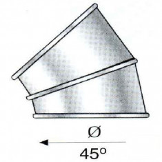 Cos fum - Cot 45 de grade pentru cosuri de fum izolate din inox Hi Line - 240 x 180 mm