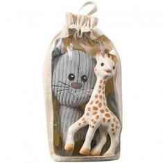 Set Pisica Lazare din plus si Girafa Sophie din cauciuc natural - Jucarie interactiva Vulli
