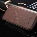 Husa piele naturala iCARER Flower Vogue, iPHONE 5 / 5s / SE, flip cover, MARO