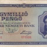 UNGARIA 1.000.000 pengo 1945 VF!!! - bancnota europa