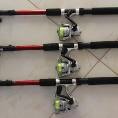 Set 3 Lansete cu 3 Mulinete + Guta Cadou Marime 2,4 Metri Lanseta + Mulineta