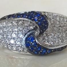 Inel argint 925 și rodiu, cu Safir (2 carate) și Topaz Alb - mărimea 7