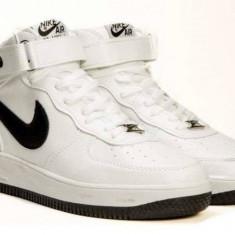 Ghete barbati, Piele sintetica - Ghete Nike Air Force Alb&Negru