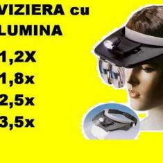 Viziera LUPA cu ILUMINARE 4 lupe (lentile) pt bijuterii, ceasornicar, etc