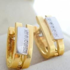 P - Cercei aur 18k, diamante, 7.21 grame, Galben